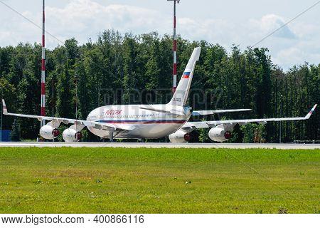 July 2, 2019, Moscow, Russia. Airplane Ilyushin Il-96 Rossiya - Special Flight Detachment At Vnukovo