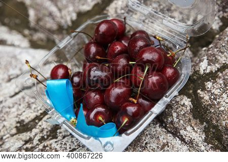 Several Juicy Cherries Lie In A Plastic Box With A Blue Ribbon On A Background Of Stones, Summer Har