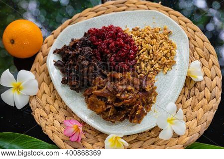 Dried Fruit Ingredients, Walnuts On The Plate Dates Cranberries And Figs, Vegan And Vegetarian Sweet