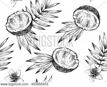 Black And White Coconut And Palm Seamless Pattern In Engraving Style