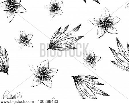Black And White Inky Seamless Pattern With Flowers And Leaves, Vintage Style