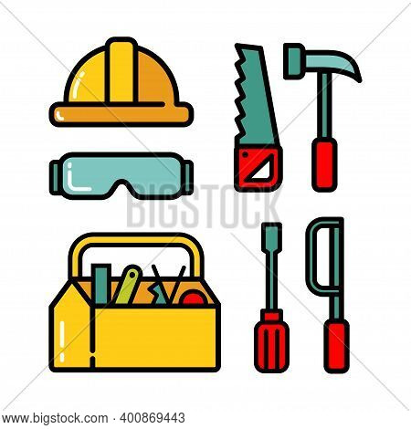 Vector Black Line Carpentry Icons Set On White Background. Vector Illustration.
