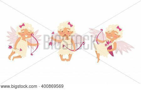 Winged Chubby Girl Cupid With Bow And Arrow Vector Set