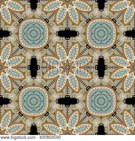 Floral Ethnic Seamless Pattern. Vector Ornamental Colorful Background. Repeat Decorative Patterned B