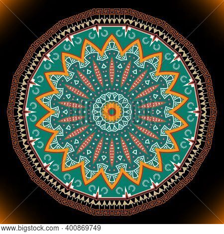 Round Ethnic Mandala. Colorful Pattern. Ornamental Vector Background. Tribal Decorative Backdrop. Fo