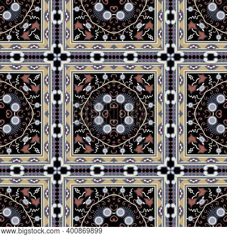 Checked Ethnic Seamless Pattern. Vector Ornamental Colorful Background. Repeat Tribal Backdrop. Abst