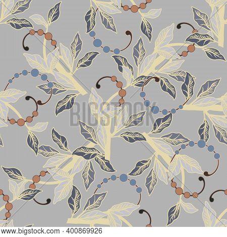 Leafy Seamless Pattern. Elegance Vector Background. Repeat Floral Ornamental Backdrop. Vintage Flowe
