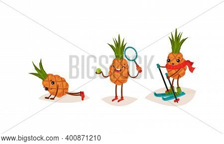 Cute Pineapple Skiing, Playing Tennis And Doing Push-ups Vector Set