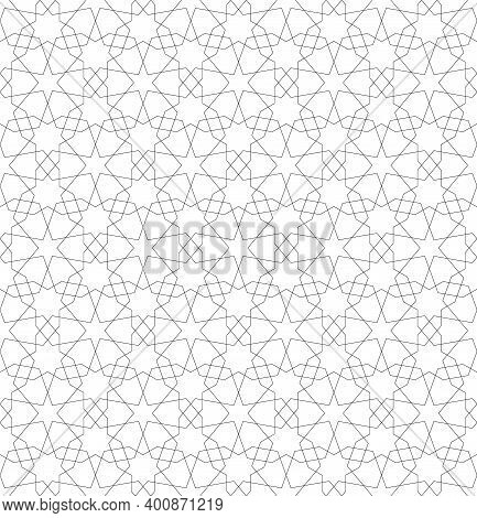 Background Seamless Pattern Based On Traditional Islamic Art.black Color.great Design For Fabric,tex