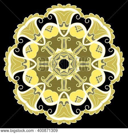 Floral Ethnic Mandala Pattern. Colorful Tribal Vector Background. Folkloric Backdrop. Paisley Flower
