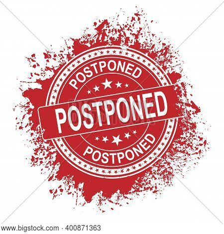 Postponed Rubber Vector Stamp Illustration Isolated On White Background. Postponed Rubber Vector Sta