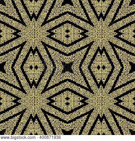 Textured Geometric Gold Seamless Pattern. Grunge Stippled Abstract Backdround. Repeat Vector Dotted
