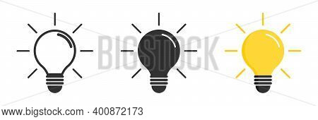 Light Bulb Icon. Light Bulb Vector Icon. Idea Icon. Lamp Concept. Light Bulb, Isolated In Modern Sim