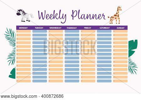 Weekly Planner Kids Safari In Cartoon Style. Calendar Design Template. Cartoon Vector Illustration.