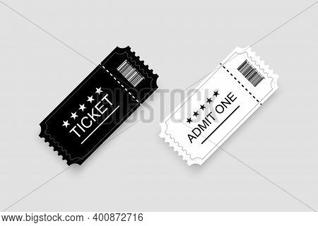 Ticket Vector Template. Coupons. Two Tickets White And Black Color With Shadow. Tickets In Old Vinta