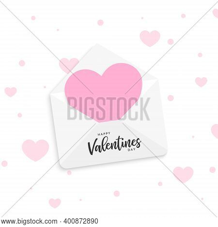 Valentines Day Greeting Card. Envelope With Heart And Text Happy Valentines Day. Valentine Card. Lov