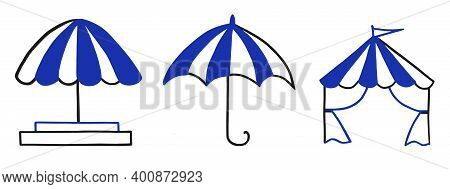 A Set Of Awning Icons, Umbrellas, Shopping Tents, With Blue And White Striped Awning. Exhibition, Po