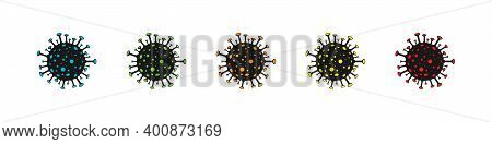 Virus Icon. Bacteria Cell Different Color. Coronavirus Icons. Coronavirus Bacterium, Isolated. Vecto
