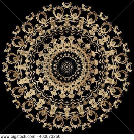 Tapestry Floral Round Mandala Pattern. Ornamental Textured Background. Repeat Vector Backdrop. Gold
