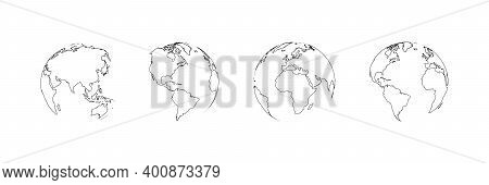 Earth Globe Collection. Set Of Black Earth Globes, Isolated. World Map Icons In Flat Design. Earth G
