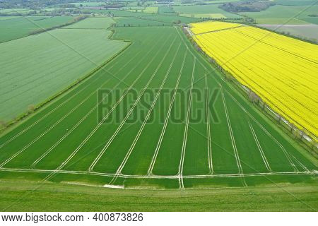 Fields In The Pewsey Vale, Wiltshire From Golden Ball