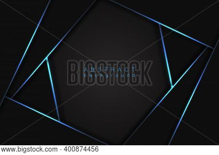 Abstract Modern Graphic Design Background. Black Geometric Shapes, Shimmering Neon Stripes And Lines