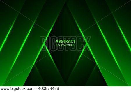 Abstract Blue Background Modern Graphic Design. Green Geometric Shapes, Shimmering Stripes And Lines