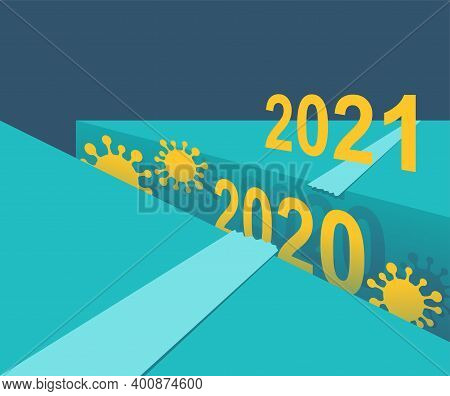 How We Survive In 2021 After Covid-19 Pandemic - Timeline With Abyss Under 2020 Year - Creative Moti