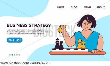 Landing Page Template With Woman Playing Chess On Board. Concept Of Business Strategy, Market Compet