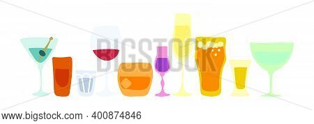 Collection Of Glasses Of Alcohol. Beer Champagne Red Wine Liquor Vodka Martini Whiskey Rum Tequila V