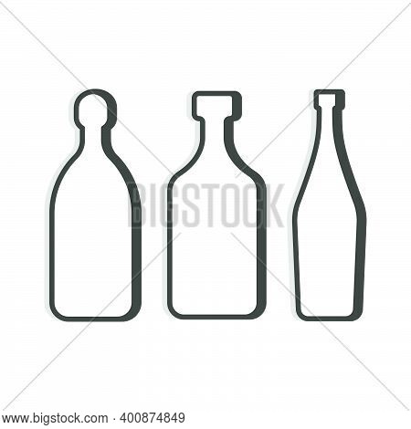 Tequila And Rum Martini Bottle. Linear Shape. Simple Template. Isolated Object. Symbol In Thin Lines
