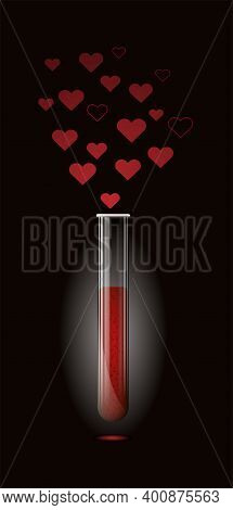 Transparent Glass Test Tube For Chemical Experiments With Red Liquid And Vapors From Hearts. Happy V