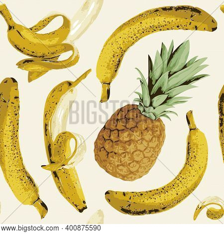 Seamless Pattern With Ripe Bananas And Pineapple On A Light Backdrop. Fruit Vector Background With W
