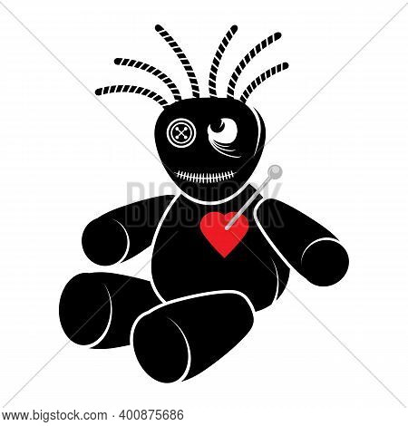 Voodoo Doll With Red Heart Isolated On White Background.