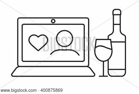 Online Valentines Day Celebration Concept. Vector Line Thin Icon Of Person With Heart On Laptop Moni