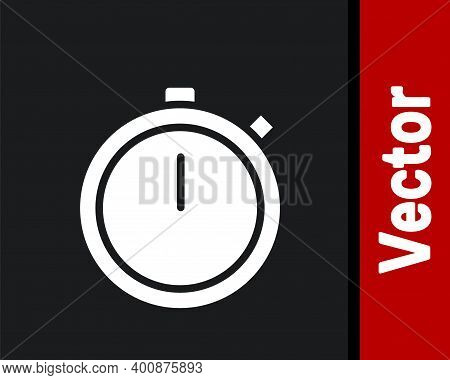 White Stopwatch Icon Isolated On Black Background. Time Timer Sign. Chronometer Sign. Vector Illustr