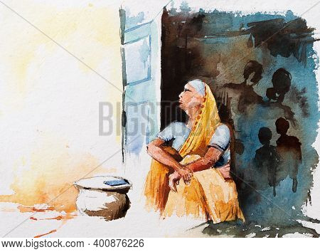 Sad Watercolor Image Of An Old Indian Woman Below Poverty Line, Bpl ,waiting At Her Doorstep With He