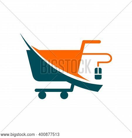 Online Shopping Icon Isolated On White Background From Advertising Collection.
