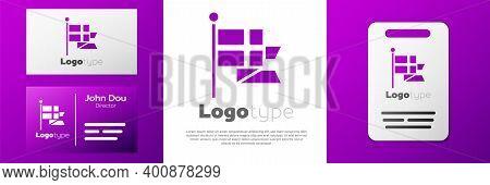 Logotype Flag Of England On Flagpole Icon Isolated On White Background. Logo Design Template Element