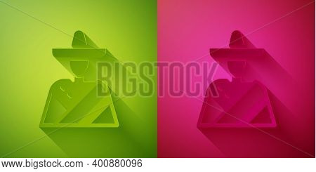 Paper Cut Mexican Man Wearing Sombrero Icon Isolated On Green And Pink Background. Hispanic Man With
