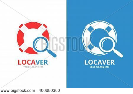 Vector Lifebuoy And Loupe Logo Combination. Unique Lifeboat And Search Logotype Design Template