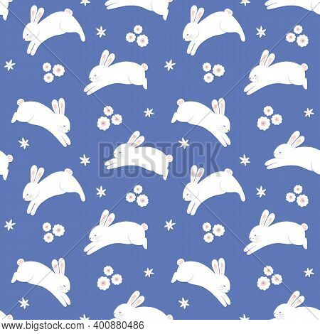 Easter Pattern. Springtime Holiday Seamless Repeat Of Leaping Bunny And Flowers, Vector Illustration