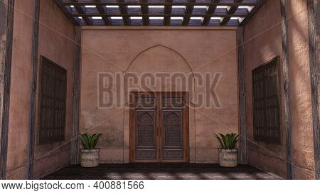 3d Rendering Of An Traditional Arabic Home Facade With A Front Door In Morocco, 3d Render