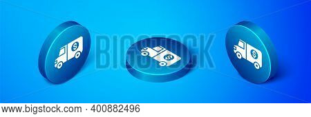 Isometric Armored Truck Icon Isolated On Blue Background. Blue Circle Button. Vector