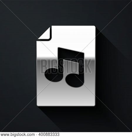 Silver Music Book With Note Icon Isolated On Black Background. Music Sheet With Note Stave. Notebook