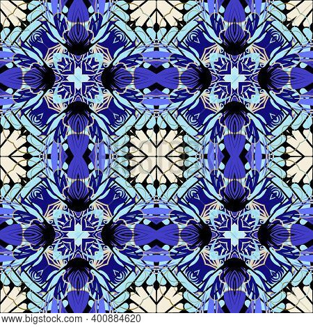 Tribal Ethnic Floral Seamless Pattern. Tartan Vector Ornamental Colorful Background. Plaid Geometric