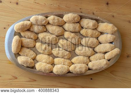 Homemade Chicken Croquettes Prepared In A Metal Tray Before Frying In Oil