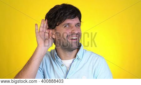Fun Man 30s Years Old Isolated On Yellow Wall Background Studio. People Sincere Emotions Lifestyle C
