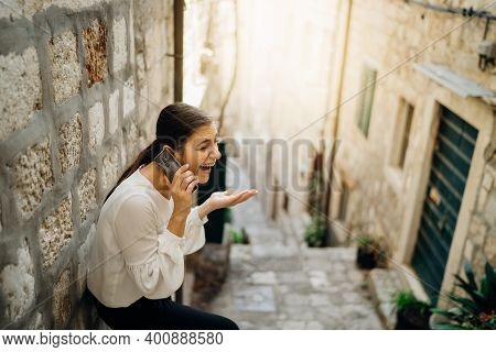 Excited Laughing Woman Having A Chat Call Meeting. Using A Social Network Platform To Stay Connected