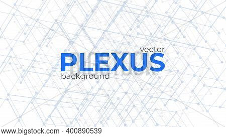 Abstract Background With Plexus Design Elements. Geometric Structures From Dots And Lines. Polygonal